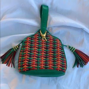Vintage woven tassel faux leather green purse